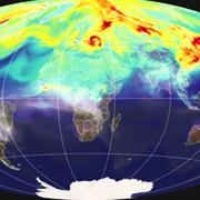 Niveles de CO2 en la atmósfera; en amarillo y rojo, niveles más elevados (NASA)